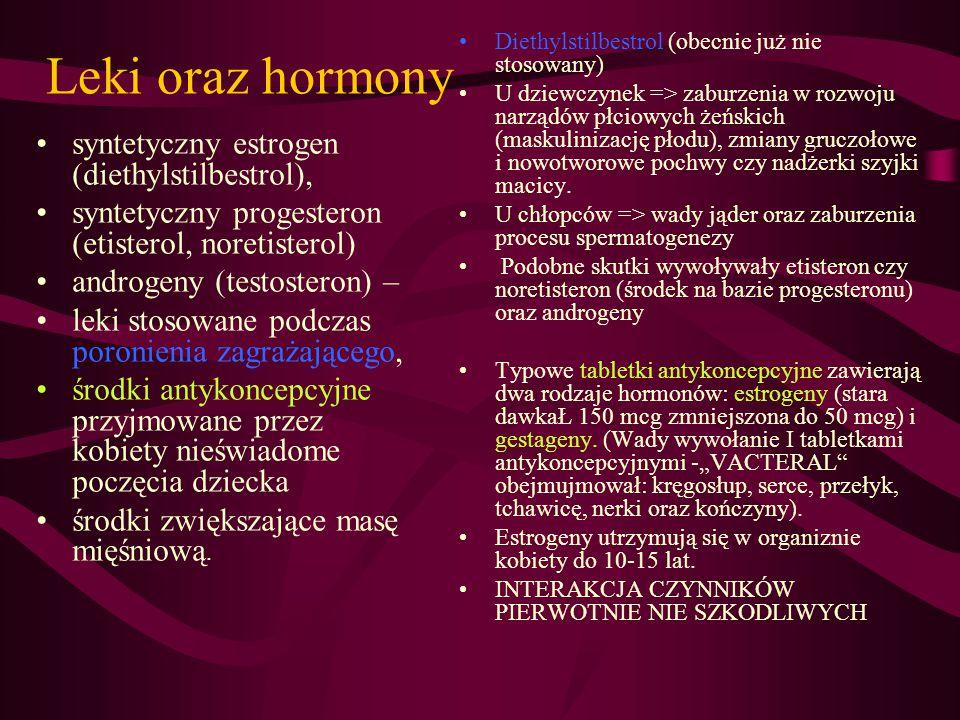 Leki oraz hormony syntetyczny estrogen (diethylstilbestrol), syntetyczny progesteron (etisterol, noretisterol) androgeny (testosteron) – leki stosowan