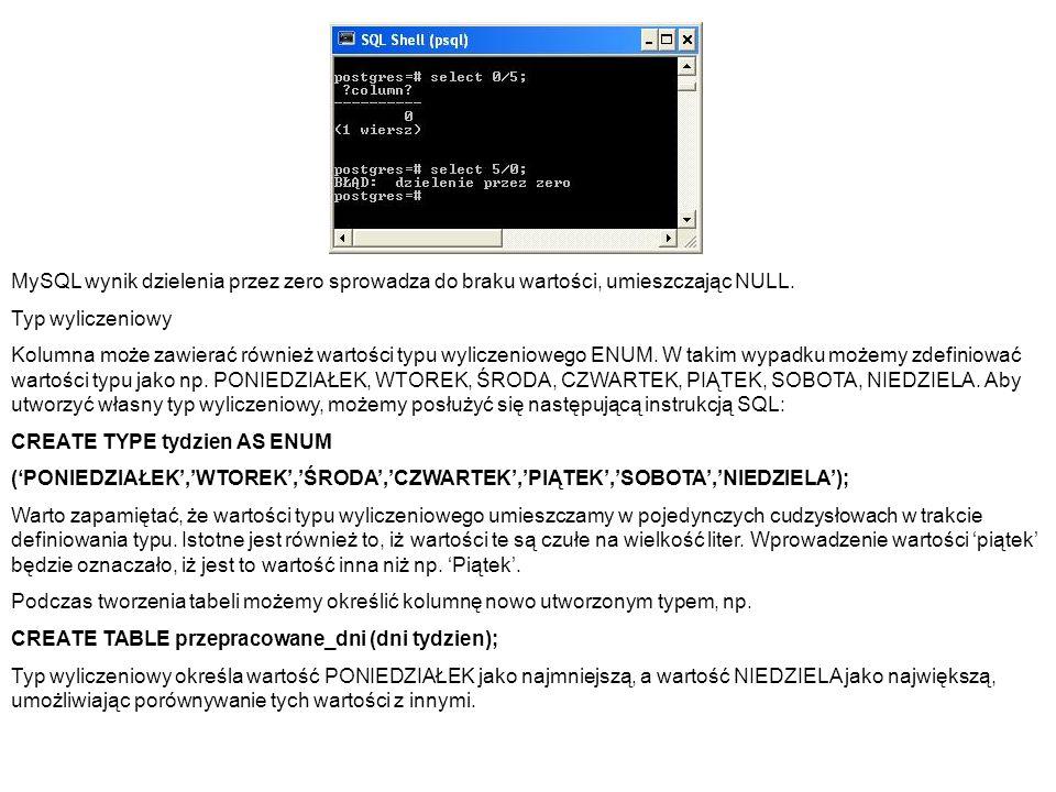 MySQL wynik dzielenia przez zero sprowadza do braku wartości, umieszczając NULL. Typ wyliczeniowy Kolumna może zawierać również wartości typu wyliczen