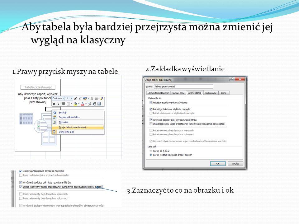 Aby tabela była bardziej przejrzysta można zmienić jej wygląd na klasyczny 1.Prawy przycisk myszy na tabele 2.Zakładka wyświetlanie 3.Zaznaczyć to co na obrazku i ok