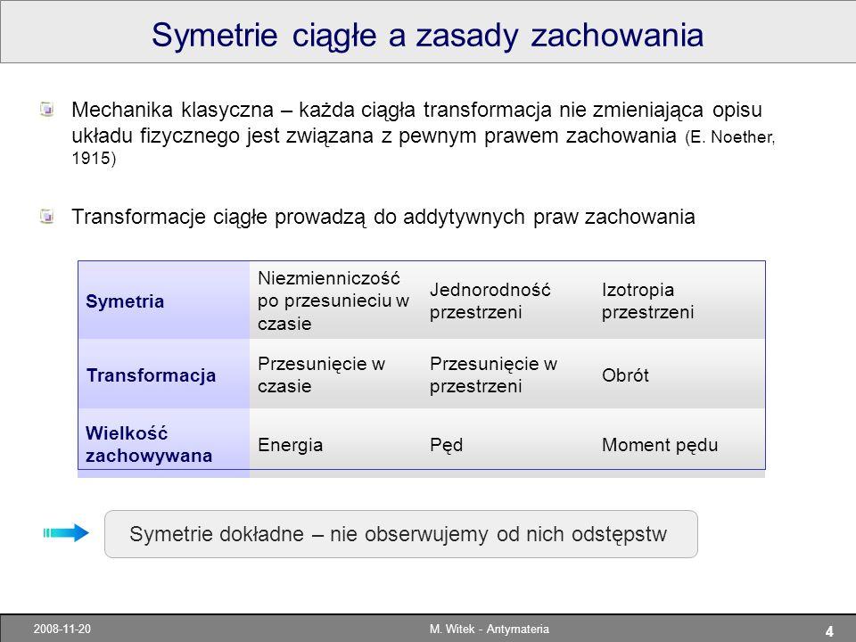 4 2008-11-20M. Witek - Antymateria Symetrie ciągłe a zasady zachowania Symetria Niezmienniczość po przesunieciu w czasie Jednorodność przestrzeni Izot