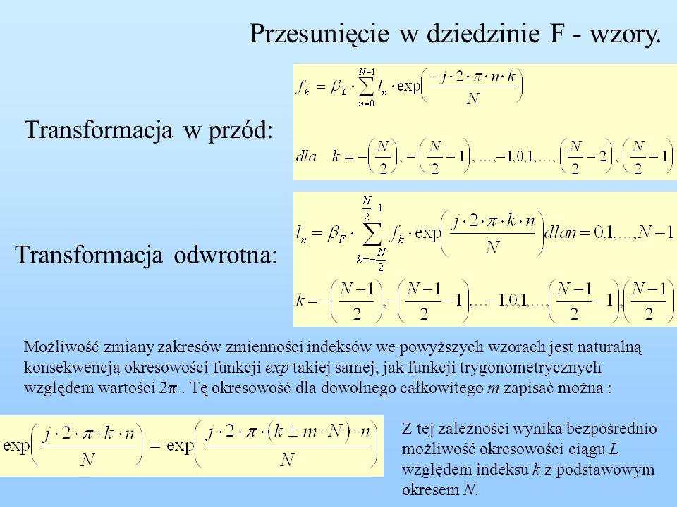 Przesunięcie w dziedzinie F - wzory. Transformacja w przód: Transformacja odwrotna: Możliwość zmiany zakresów zmienności indeksów we powyższych wzorac