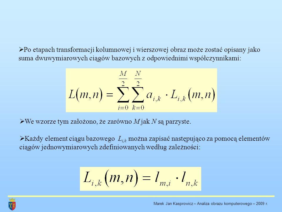  Po etapach transformacji kolumnowej i wierszowej obraz może zostać opisany jako suma dwuwymiarowych ciągów bazowych z odpowiednimi współczynnikami: