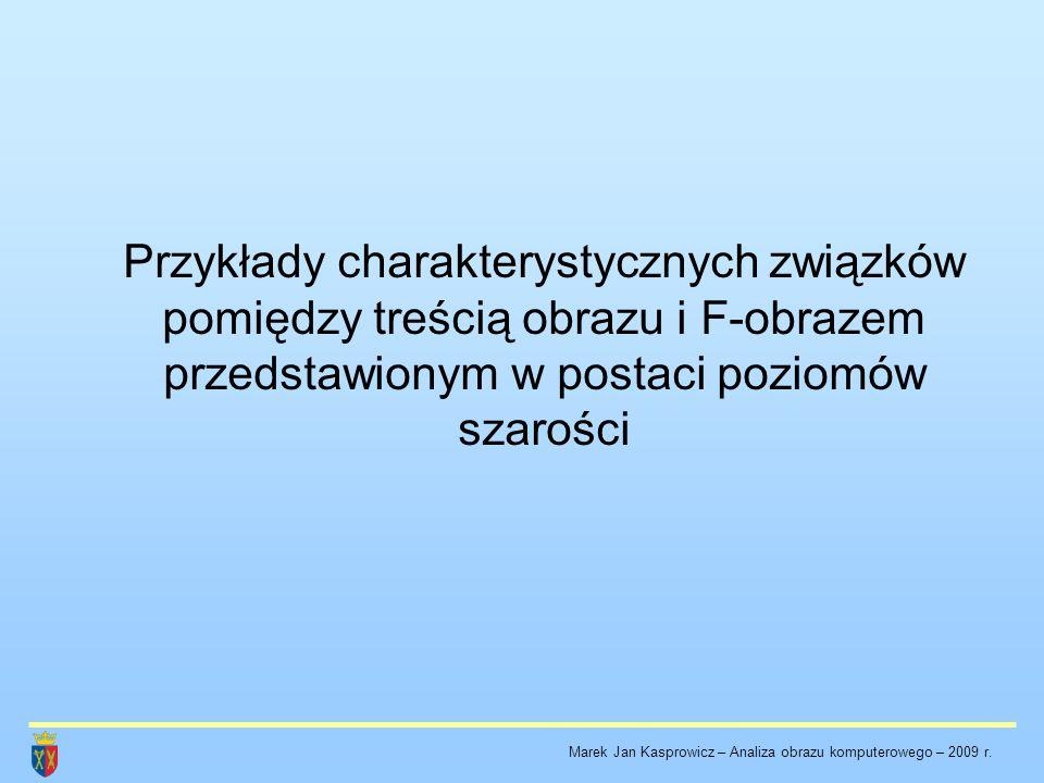 Przykłady charakterystycznych związków pomiędzy treścią obrazu i F-obrazem przedstawionym w postaci poziomów szarości Marek Jan Kasprowicz – Analiza o