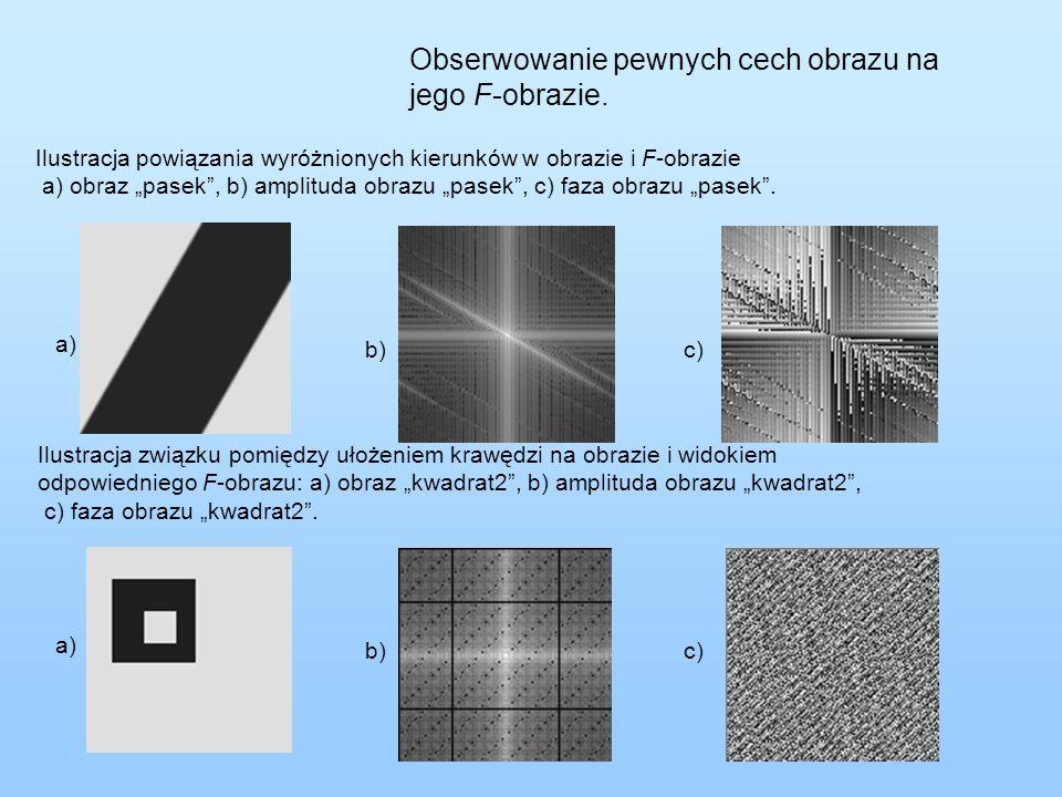 """Obserwowanie pewnych cech obrazu na jego F-obrazie. Ilustracja powiązania wyróżnionych kierunków w obrazie i F-obrazie a) obraz """"pasek"""", b) amplituda"""