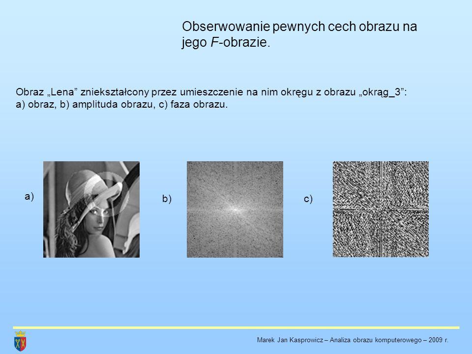 """Obserwowanie pewnych cech obrazu na jego F-obrazie. Obraz """"Lena"""" zniekształcony przez umieszczenie na nim okręgu z obrazu """"okrąg_3"""": a) obraz, b) ampl"""