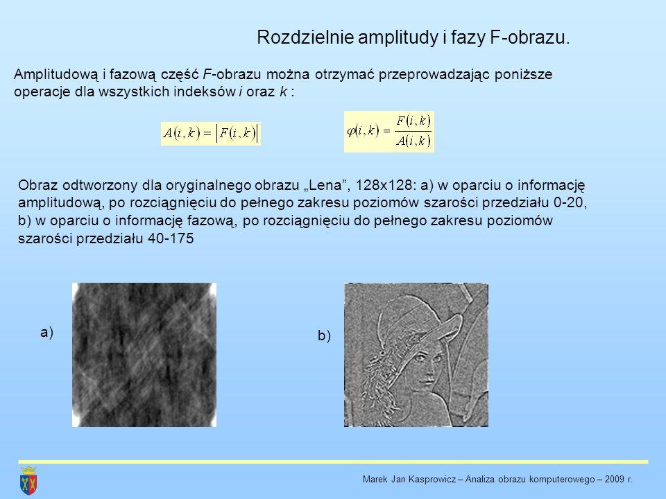 Rozdzielnie amplitudy i fazy F-obrazu. Amplitudową i fazową część F-obrazu można otrzymać przeprowadzając poniższe operacje dla wszystkich indeksów i
