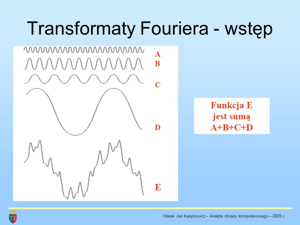 Transformaty Fouriera - wstęp W przypadku sygnałów (w szczególności obrazów), których elementy wykazują okresowość w strukturze transformaty Fouriera można wyróżnić dyskretne składowe.