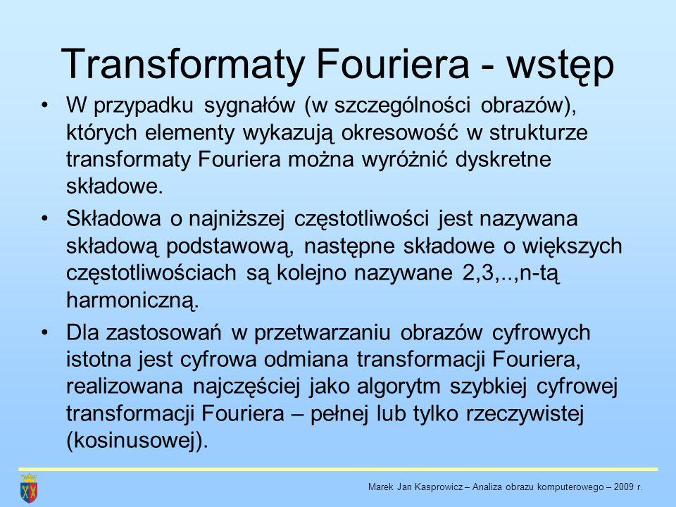 Część rzeczywista i urojona transformaty i zależności fazowe.