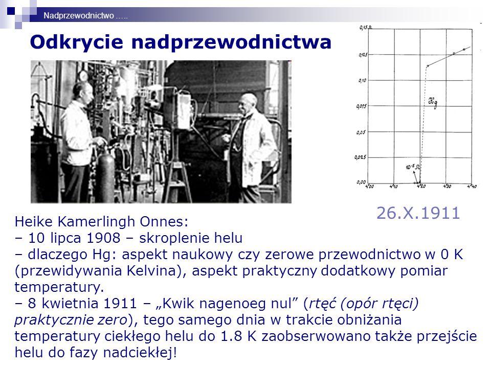 Odkrycie nadprzewodnictwa 26.X.1911 Nadprzewodnictwo …..