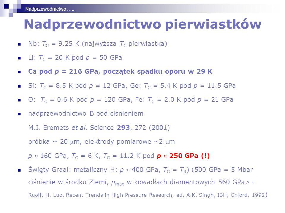 Nadprzewodnictwo pierwiastków Nb: T C = 9.25 K (najwyższa T C pierwiastka) Li: T C = 20 K pod p = 50 GPa Ca pod p = 216 GPa, początek spadku oporu w 29 K Si: T C = 8.5 K pod p = 12 GPa, Ge: T C = 5.4 K pod p = 11.5 GPa O: T C = 0.6 K pod p = 120 GPa, Fe: T C = 2.0 K pod p = 21 GPa nadprzewodnictwo B pod ciśnieniem M.I.
