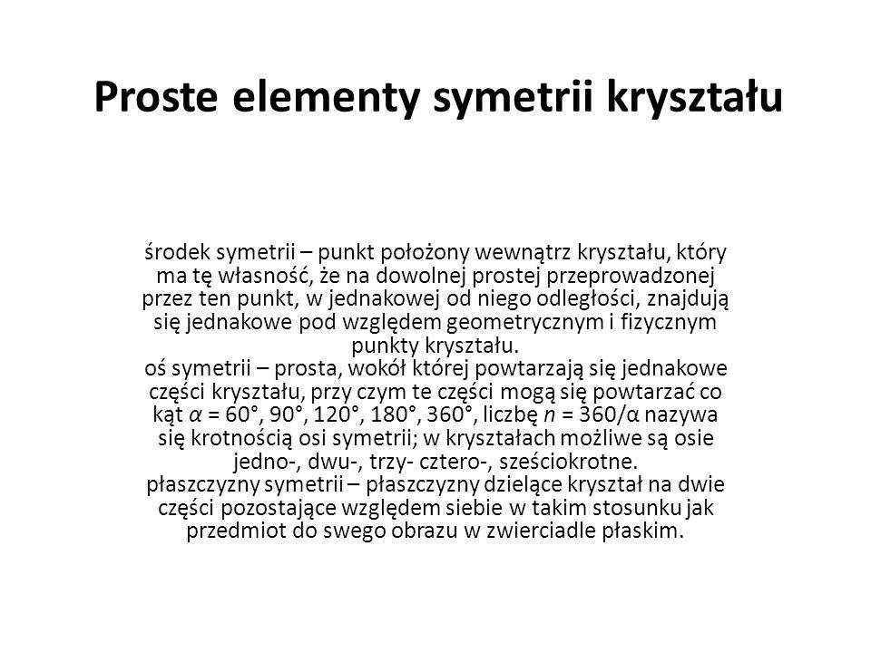 Proste elementy symetrii kryształu środek symetrii – punkt położony wewnątrz kryształu, który ma tę własność, że na dowolnej prostej przeprowadzonej p