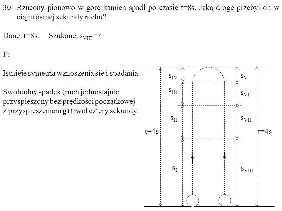 sIsI s II s III s IV sVsV s VI s VII s VIII t=4s 301.Rzucony pionowo w górę kamień spadł po czasie t=8s.