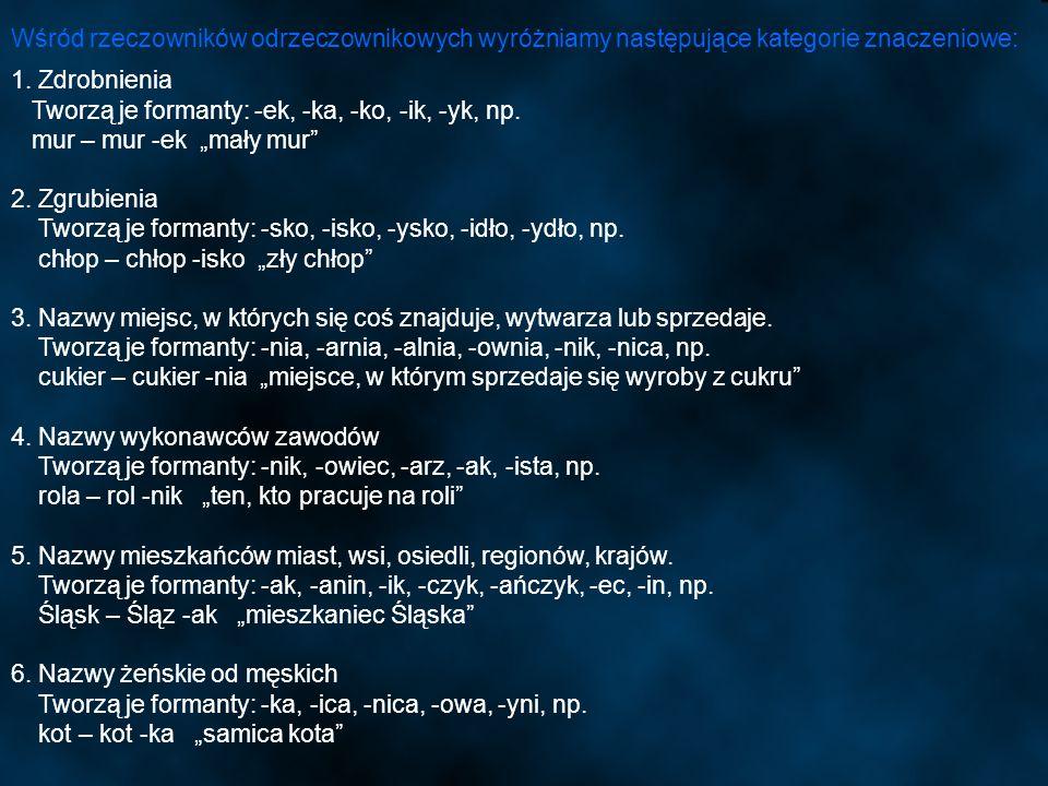 """1. Zdrobnienia Tworzą je formanty: -ek, -ka, -ko, -ik, -yk, np. mur – mur -ek """"mały mur"""" 2. Zgrubienia Tworzą je formanty: -sko, -isko, -ysko, -idło,"""