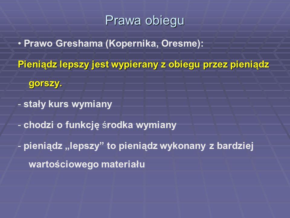 Prawa obiegu Prawo Greshama (Kopernika, Oresme): Pieniądz lepszy jest wypierany z obiegu przez pieniądz gorszy. - stały kurs wymiany - chodzi o funkcj