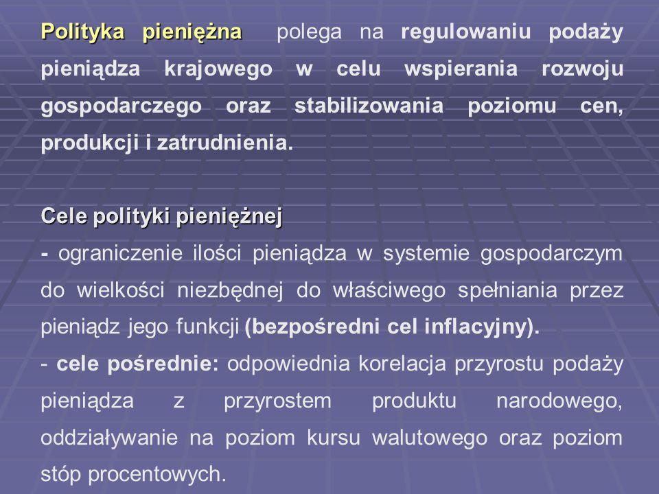 Polityka pieniężna Polityka pieniężna polega na regulowaniu podaży pieniądza krajowego w celu wspierania rozwoju gospodarczego oraz stabilizowania poz