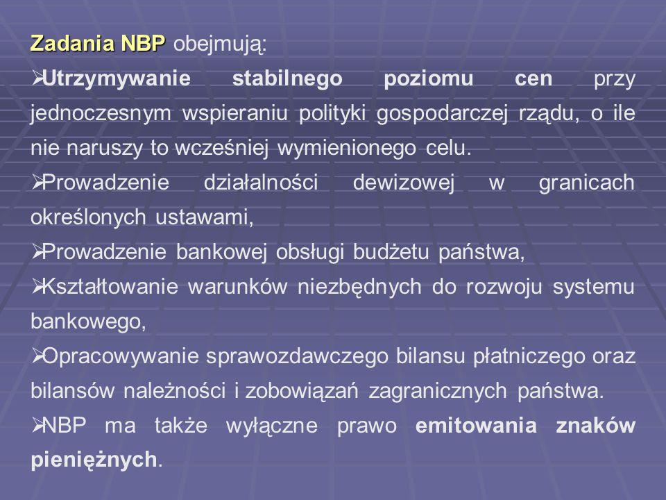 Zadania NBP Zadania NBP obejmują:  Utrzymywanie stabilnego poziomu cen przy jednoczesnym wspieraniu polityki gospodarczej rządu, o ile nie naruszy to