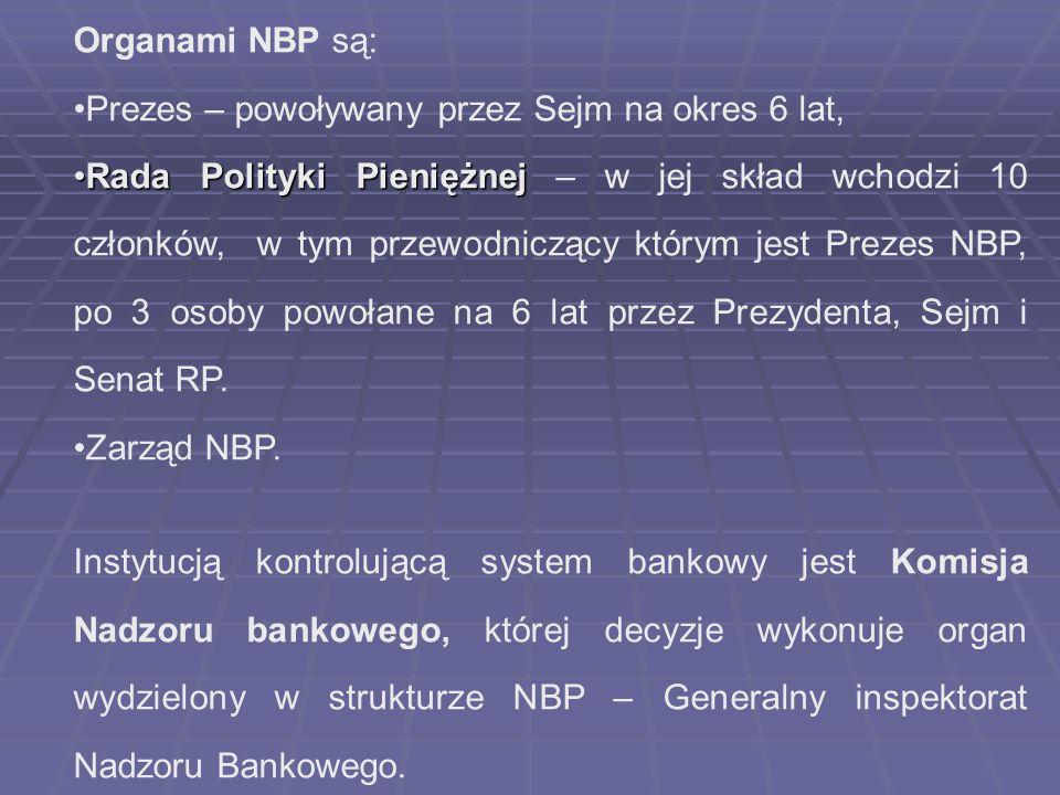 Organami NBP są: Prezes – powoływany przez Sejm na okres 6 lat, Rada Polityki PieniężnejRada Polityki Pieniężnej – w jej skład wchodzi 10 członków, w