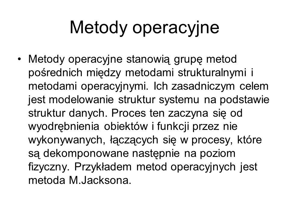 Metody operacyjne Metody operacyjne stanowią grupę metod pośrednich między metodami strukturalnymi i metodami operacyjnymi.
