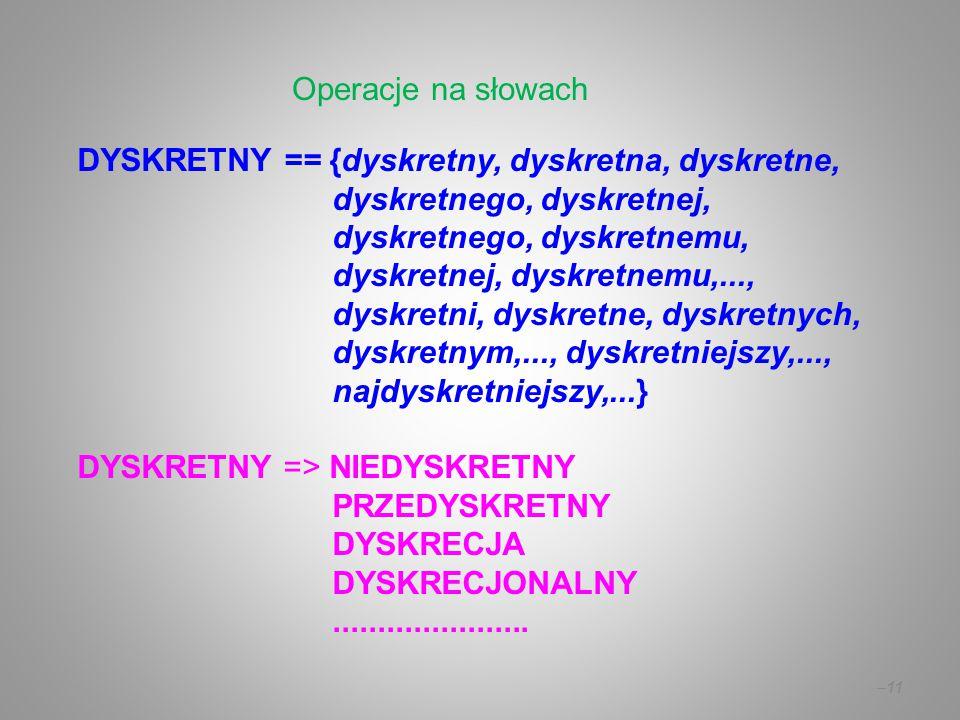 DYSKRETNY == {dyskretny, dyskretna, dyskretne, dyskretnego, dyskretnej, dyskretnego, dyskretnemu, dyskretnej, dyskretnemu,..., dyskretni, dyskretne, d