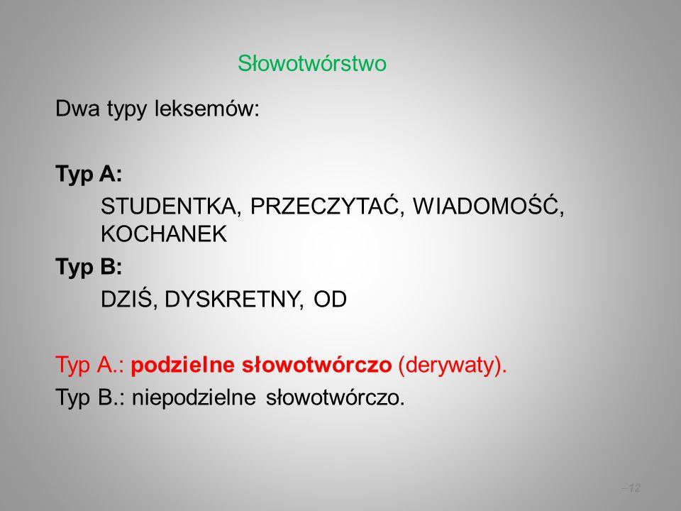 Dwa typy leksemów: Typ A: STUDENTKA, PRZECZYTAĆ, WIADOMOŚĆ, KOCHANEK Typ B: DZIŚ, DYSKRETNY, OD Typ A.: podzielne słowotwórczo (derywaty).
