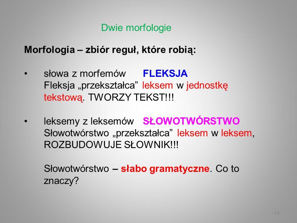 """Morfologia – zbiór reguł, które robią: słowa z morfemówFLEKSJA Fleksja """"przekształca"""" leksem w jednostkę tekstową. TWORZY TEKST!!! leksemy z leksemów"""