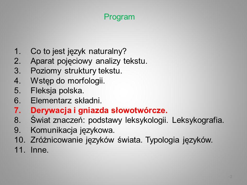 Wykład 7: Derywacja i gniazda słowotwórcze.