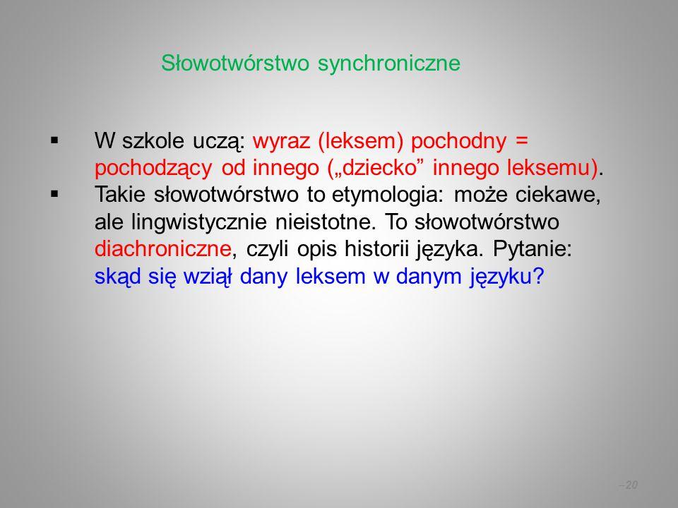 """ W szkole uczą: wyraz (leksem) pochodny = pochodzący od innego (""""dziecko"""" innego leksemu).  Takie słowotwórstwo to etymologia: może ciekawe, ale lin"""