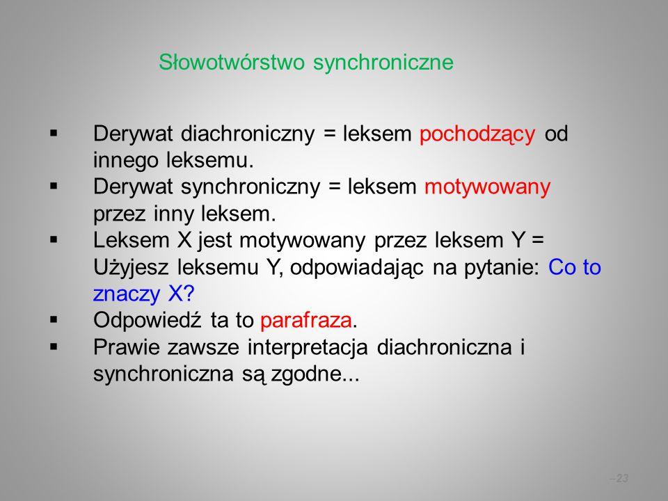  Derywat diachroniczny = leksem pochodzący od innego leksemu.  Derywat synchroniczny = leksem motywowany przez inny leksem.  Leksem X jest motywowa