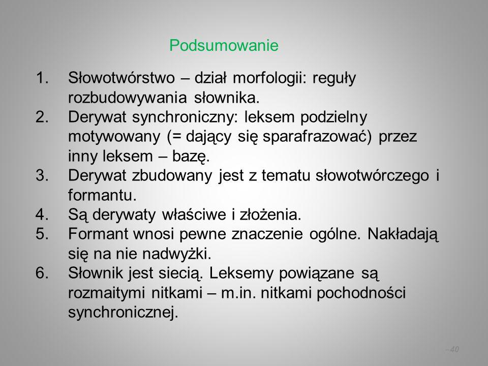 1.Słowotwórstwo – dział morfologii: reguły rozbudowywania słownika. 2.Derywat synchroniczny: leksem podzielny motywowany (= dający się sparafrazować)