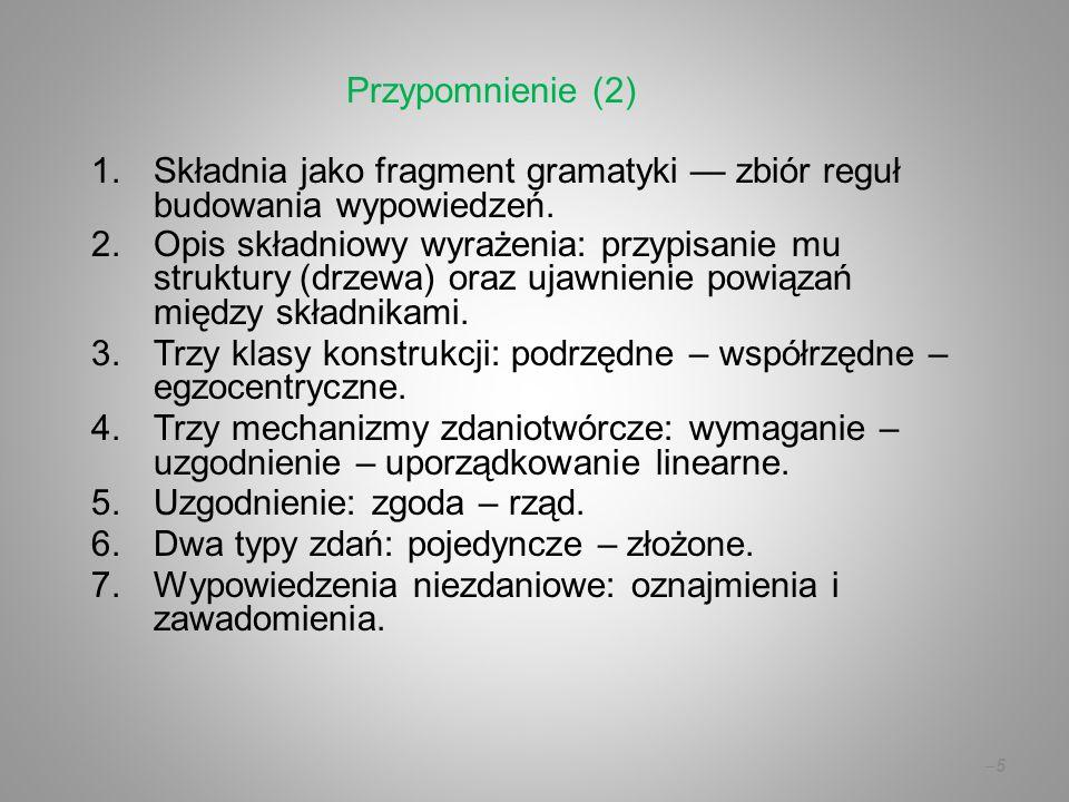 –5–5 1.Składnia jako fragment gramatyki — zbiór reguł budowania wypowiedzeń. 2.Opis składniowy wyrażenia: przypisanie mu struktury (drzewa) oraz ujawn
