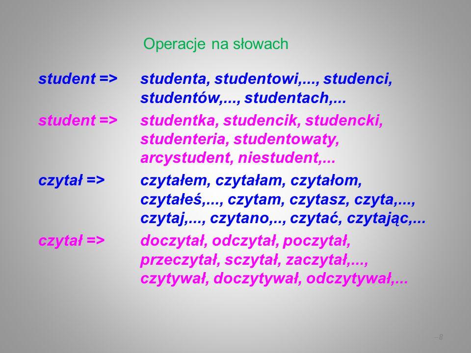 student =>studenta, studentowi,..., studenci, studentów,..., studentach,... student =>studentka, studencik, studencki, studenteria, studentowaty, arcy