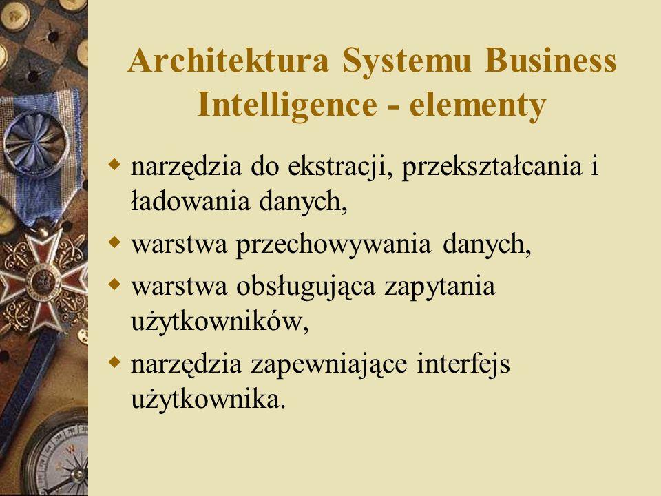 Architektura Systemu Business Intelligence - elementy  narzędzia do ekstracji, przekształcania i ładowania danych,  warstwa przechowywania danych, 