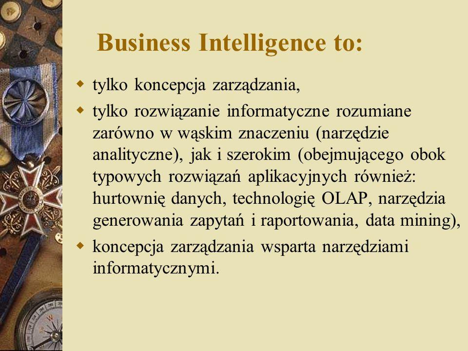 Business Intelligence to:  tylko koncepcja zarządzania,  tylko rozwiązanie informatyczne rozumiane zarówno w wąskim znaczeniu (narzędzie analityczne