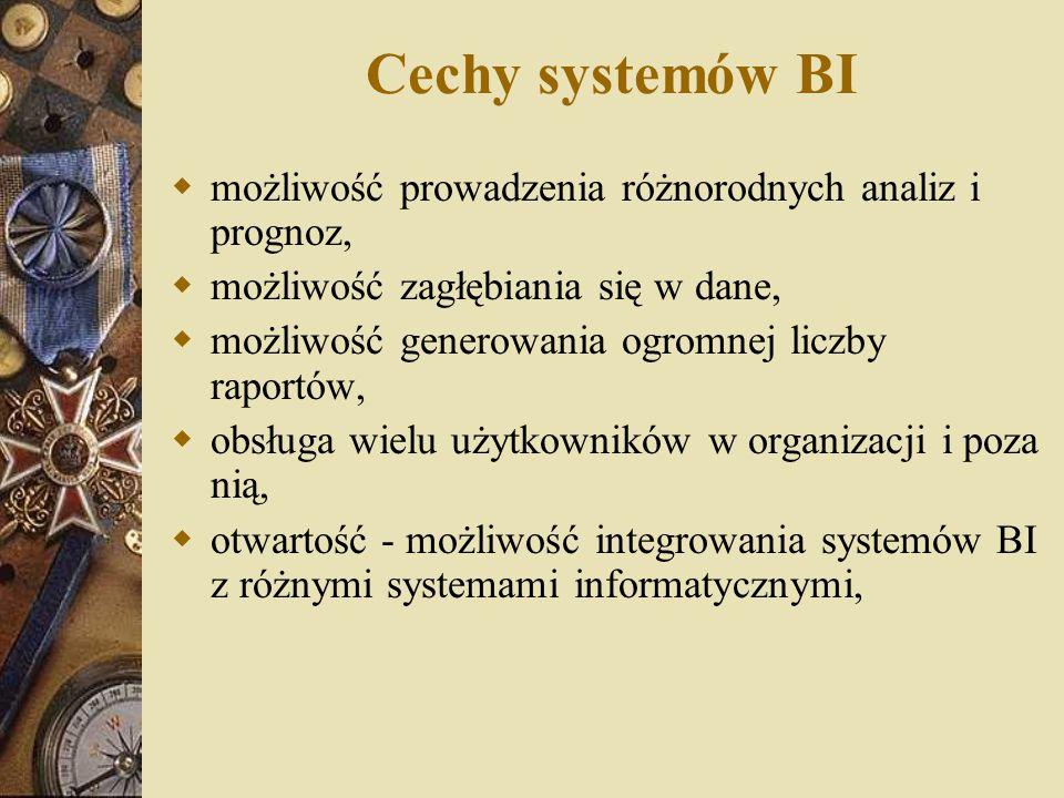 Cechy systemów BI  zgodność ze standardami firmowymi i rynkowymi,  obsługa rozproszonych zasobów danych,  szybkość dostarczania informacji potencjalnym użytkownikom,  duża czytelność danych - zastosowanie technik wizualizacji danych.