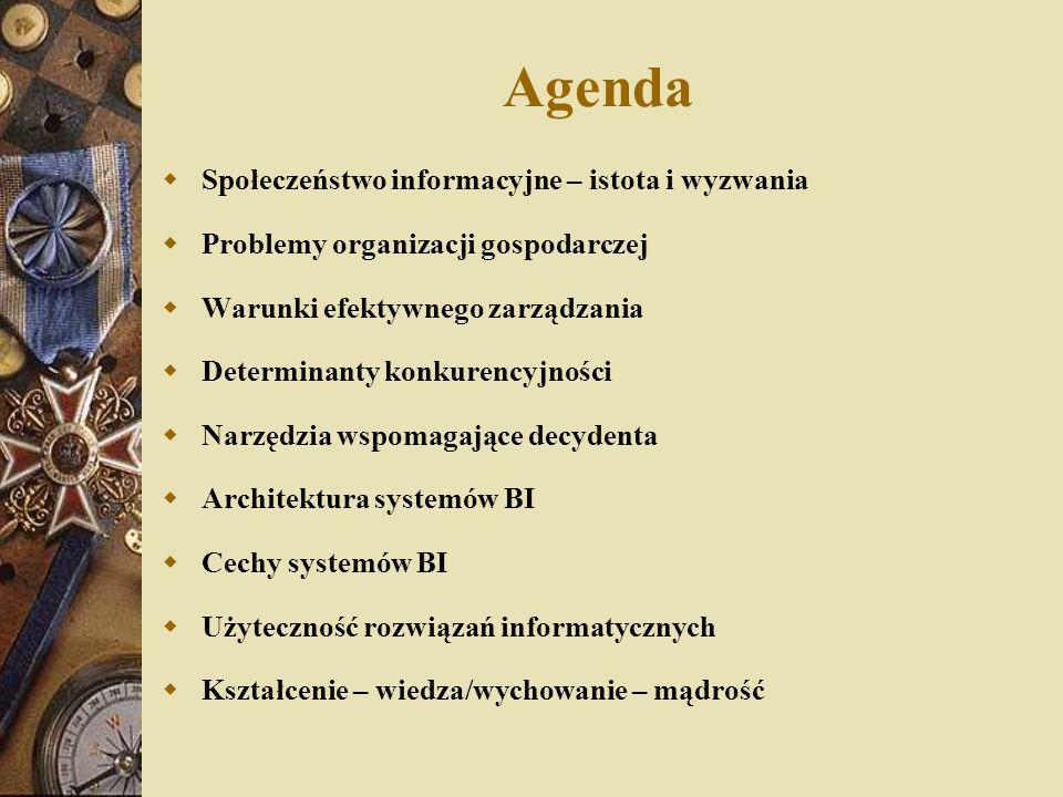 Agenda  Społeczeństwo informacyjne – istota i wyzwania  Problemy organizacji gospodarczej  Warunki efektywnego zarządzania  Determinanty konkurenc