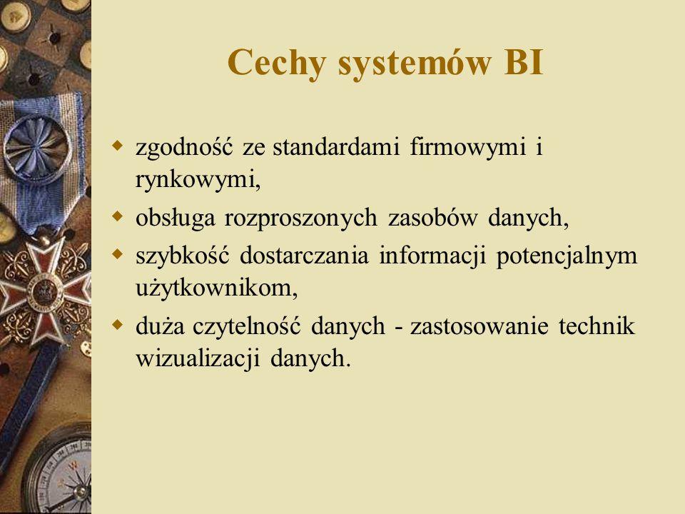 Cechy systemów BI  zgodność ze standardami firmowymi i rynkowymi,  obsługa rozproszonych zasobów danych,  szybkość dostarczania informacji potencja