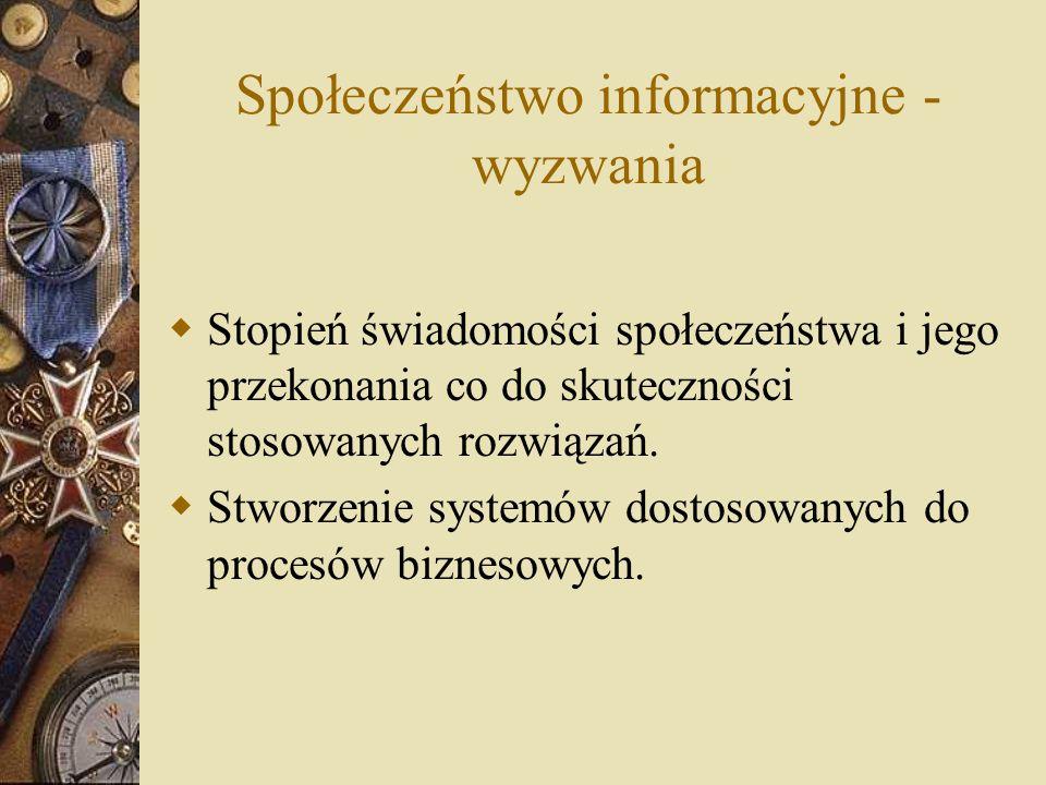 Społeczeństwo informacyjne - wyzwania  Stopień świadomości społeczeństwa i jego przekonania co do skuteczności stosowanych rozwiązań.  Stworzenie sy