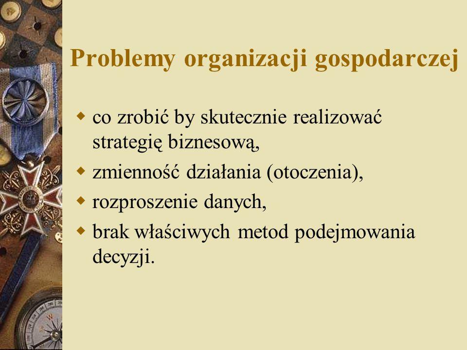 Problemy organizacji gospodarczej  co zrobić by skutecznie realizować strategię biznesową,  zmienność działania (otoczenia),  rozproszenie danych,