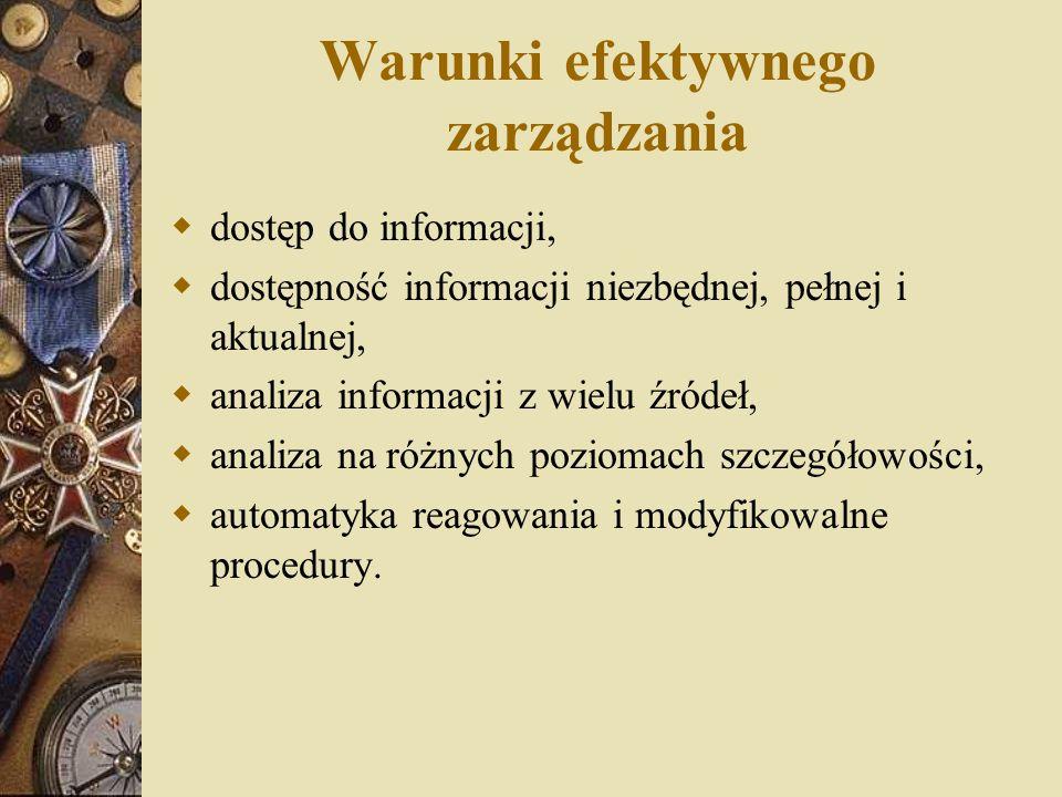 Warunki efektywnego zarządzania  dostęp do informacji,  dostępność informacji niezbędnej, pełnej i aktualnej,  analiza informacji z wielu źródeł, 