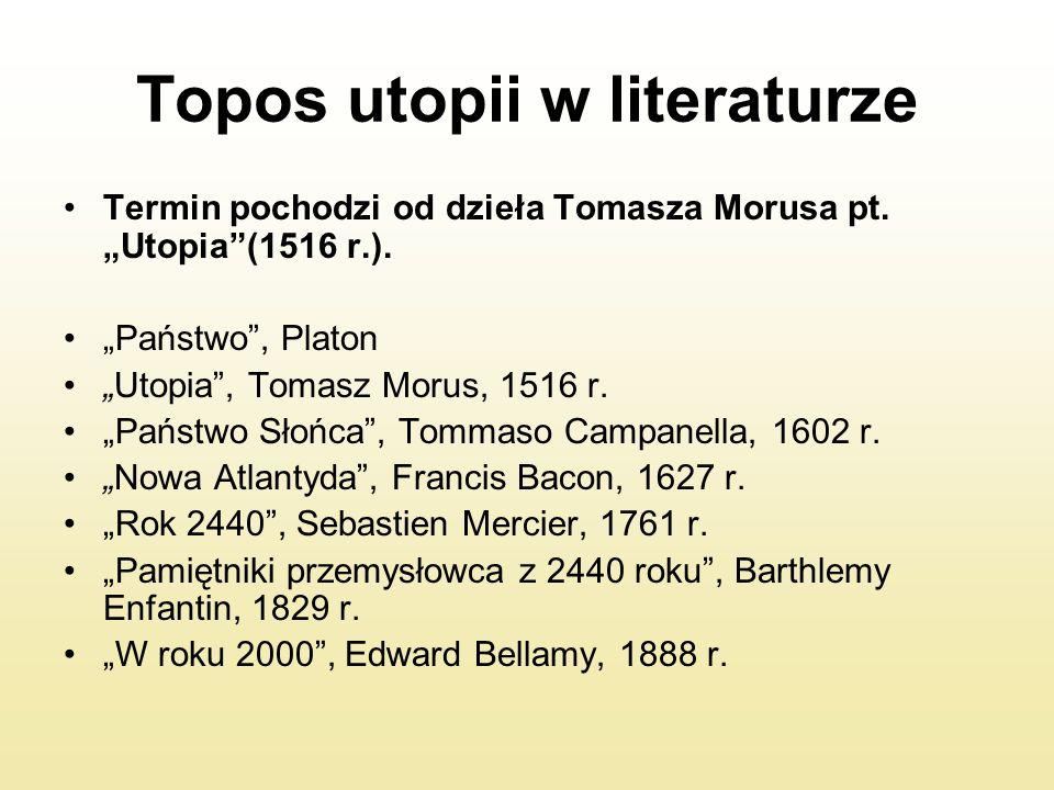 """Topos utopii w literaturze Termin pochodzi od dzieła Tomasza Morusa pt. """"Utopia""""(1516 r.). """"Państwo"""", Platon """"Utopia"""", Tomasz Morus, 1516 r. """"Państwo"""