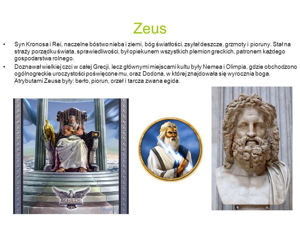 Zeus Syn Kronosa i Rei, naczelne bóstwo nieba i ziemi, bóg światłości, zsyłał deszcze, grzmoty i pioruny.