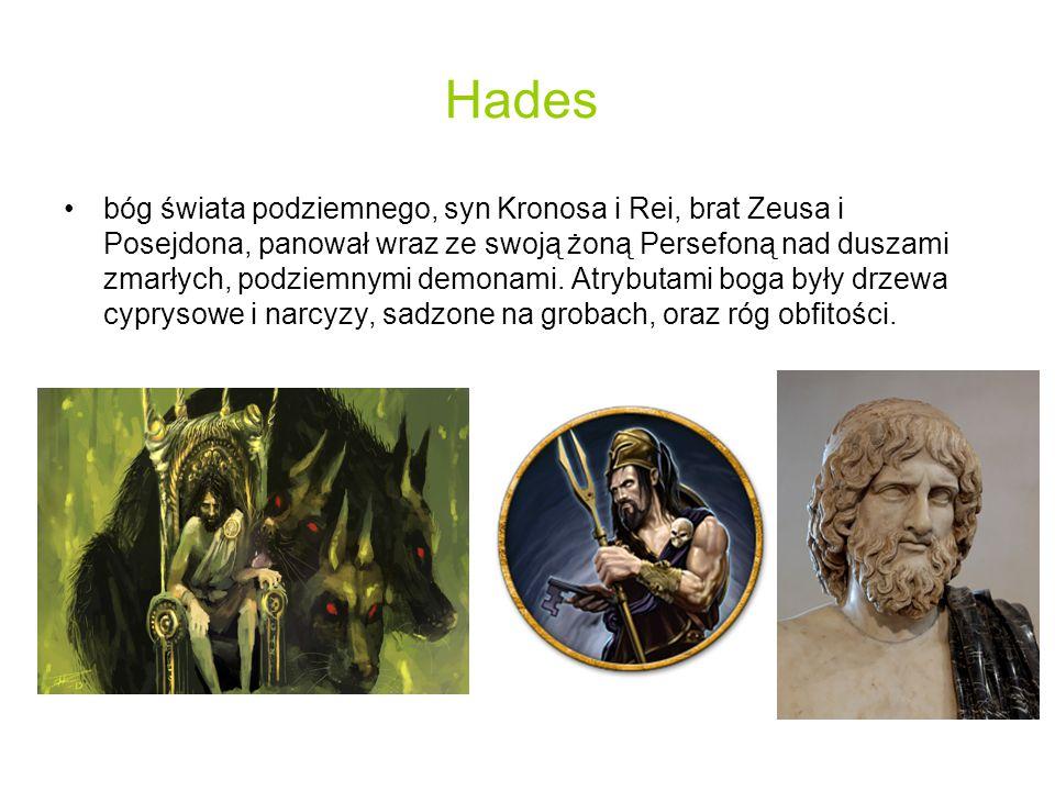Hades bóg świata podziemnego, syn Kronosa i Rei, brat Zeusa i Posejdona, panował wraz ze swoją żoną Persefoną nad duszami zmarłych, podziemnymi demonami.