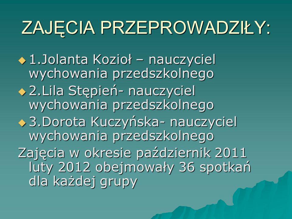 ZAJĘCIA PRZEPROWADZIŁY:  1.Jolanta Kozioł – nauczyciel wychowania przedszkolnego  2.Lila Stępień- nauczyciel wychowania przedszkolnego  3.Dorota Ku