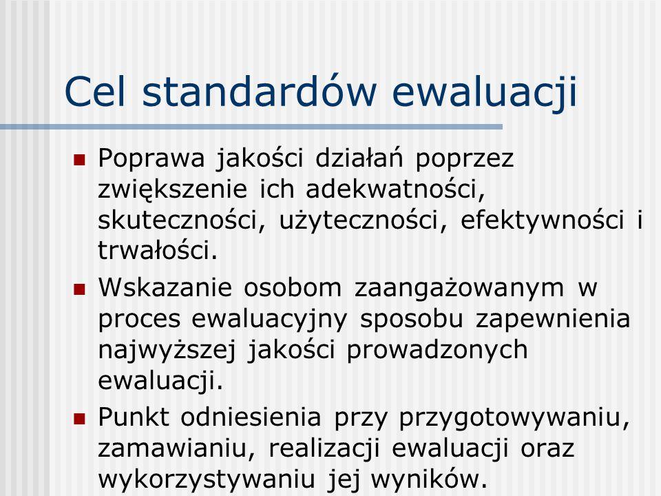 Cel standardów ewaluacji Poprawa jakości działań poprzez zwiększenie ich adekwatności, skuteczności, użyteczności, efektywności i trwałości.