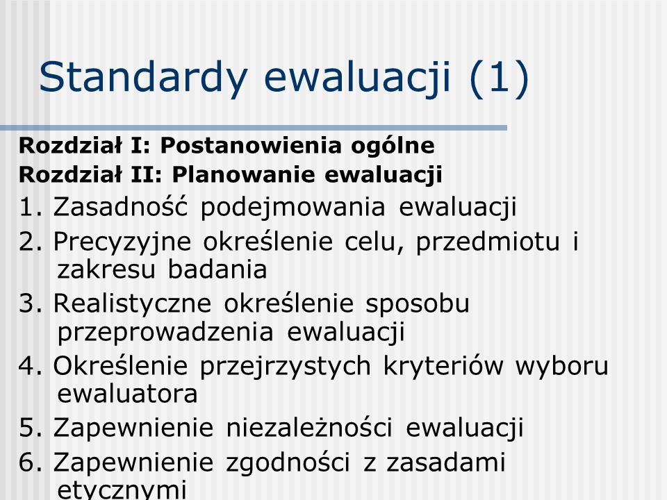 Standardy ewaluacji (1) Rozdział I: Postanowienia ogólne Rozdział II: Planowanie ewaluacji 1.