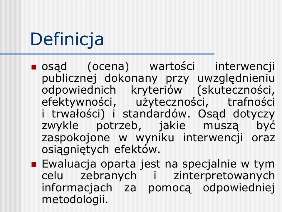 Definicja osąd (ocena) wartości interwencji publicznej dokonany przy uwzględnieniu odpowiednich kryteriów (skuteczności, efektywności, użyteczności, trafności i trwałości) i standardów.