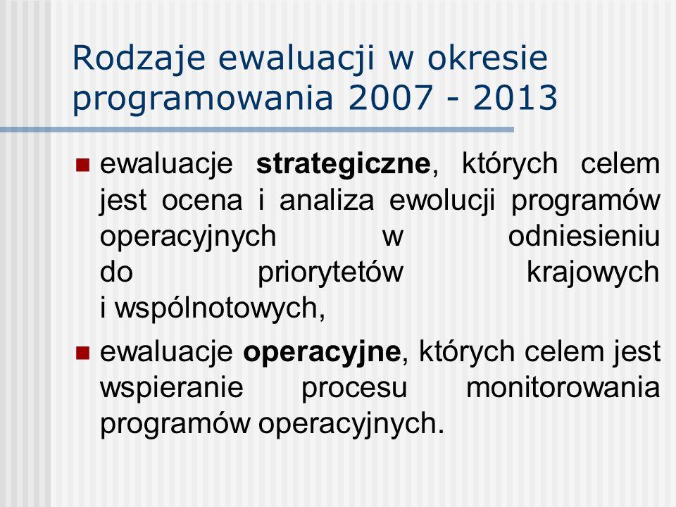 Rodzaje ewaluacji w okresie programowania 2007 - 2013 ewaluacje strategiczne, których celem jest ocena i analiza ewolucji programów operacyjnych w odniesieniu do priorytetów krajowych i wspólnotowych, ewaluacje operacyjne, których celem jest wspieranie procesu monitorowania programów operacyjnych.