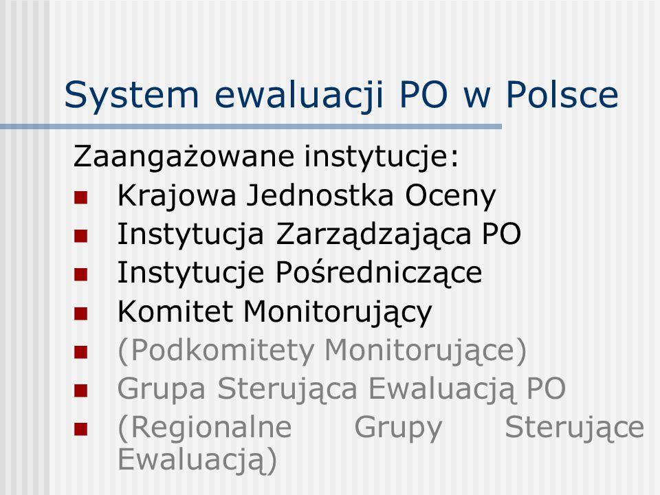 System ewaluacji PO w Polsce Zaangażowane instytucje: Krajowa Jednostka Oceny Instytucja Zarządzająca PO Instytucje Pośredniczące Komitet Monitorujący (Podkomitety Monitorujące) Grupa Sterująca Ewaluacją PO (Regionalne Grupy Sterujące Ewaluacją)