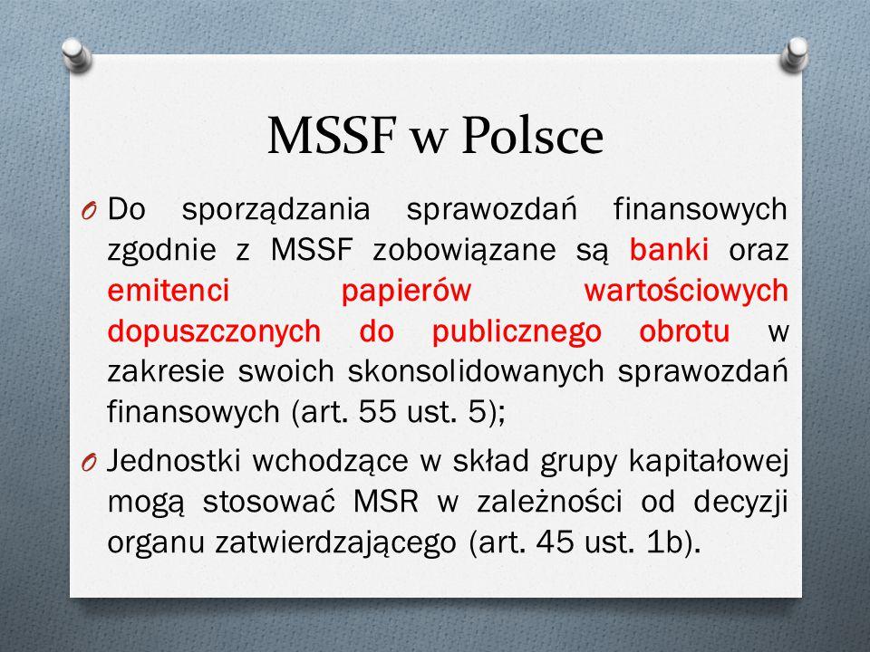 MSSF w Polsce O Do sporządzania sprawozdań finansowych zgodnie z MSSF zobowiązane są banki oraz emitenci papierów wartościowych dopuszczonych do publicznego obrotu w zakresie swoich skonsolidowanych sprawozdań finansowych (art.