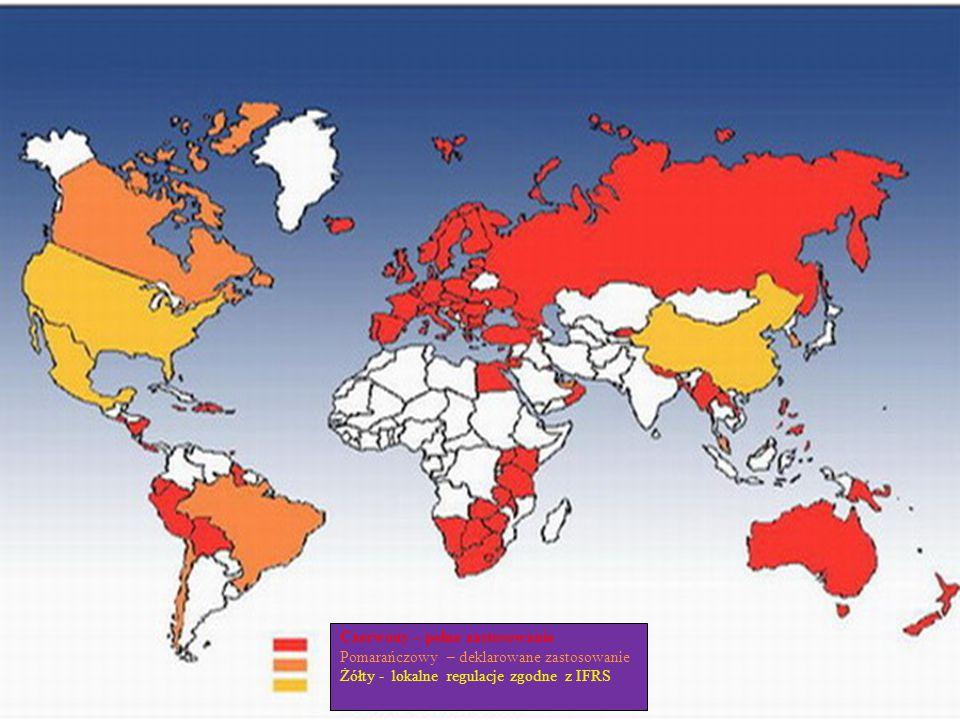 Czerwony – pełne zastosowanie Pomarańczowy – deklarowane zastosowanie Żółty - lokalne regulacje zgodne z IFRS